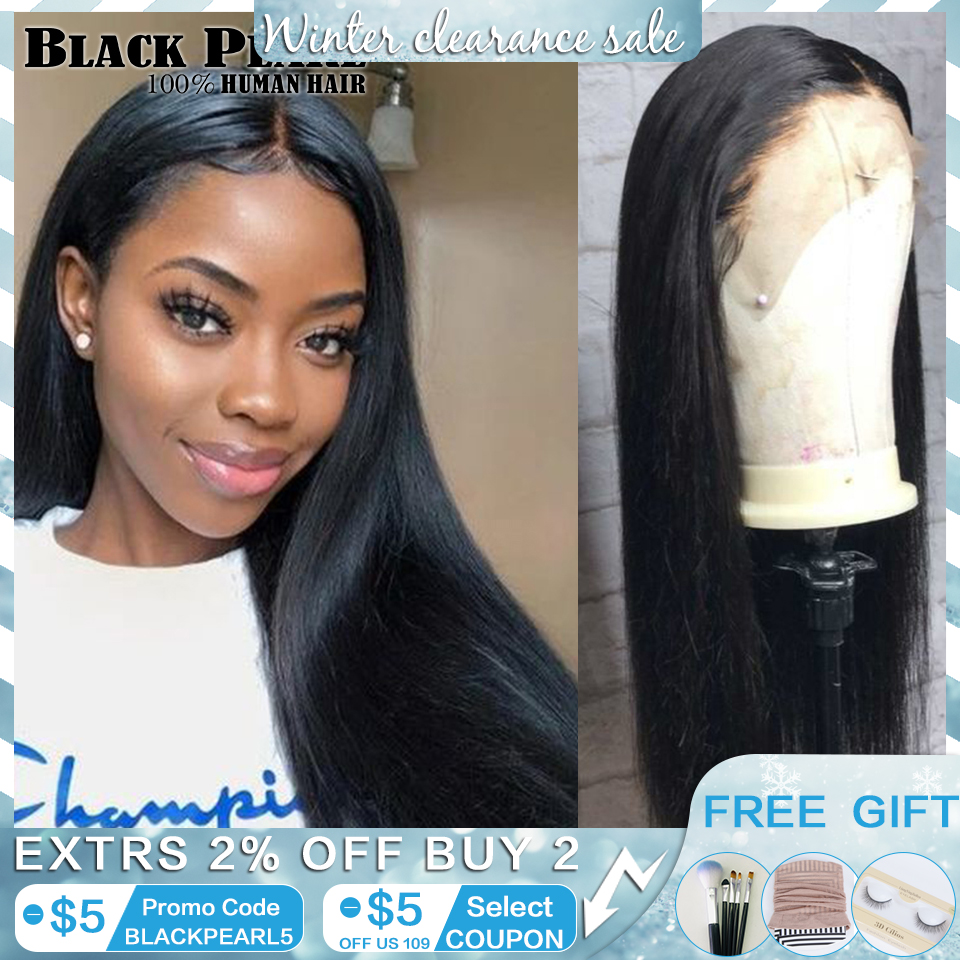 Black pearl 13x4 Lace Front Human Hair Wigs pre plucked Brazilian Straight Lace Front Wigs For Black Women title=