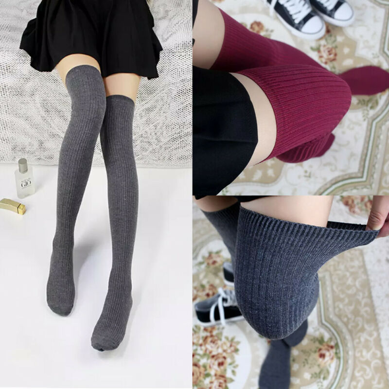 1 Pair Women Girl Over <font><b>Knee</b></font> <font><b>High</b></font> <font><b>Socks</b></font> Spring Autumn Winter Warm <font><b>Knit</b></font> Soft Thigh <font><b>High</b></font> Long <font><b>Socks</b></font> solid color loose Stockings image