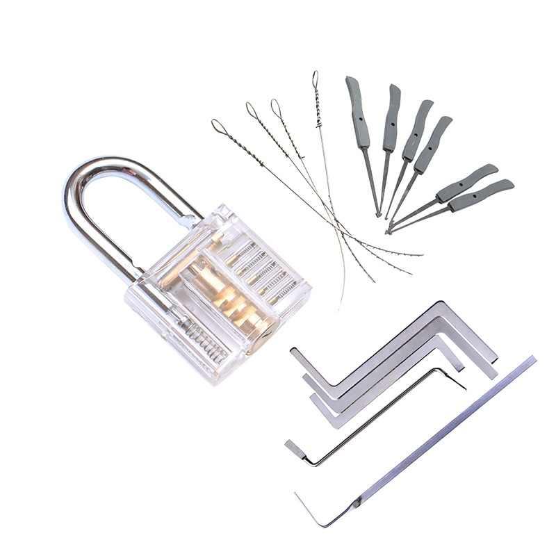 Candado de práctica de corte transparente Visible con llave rota, ganchos de extracción, Juego de extracción, herramienta de cerrajero