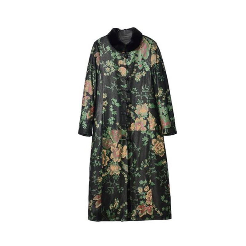 WYWAN Women's long  jacket 2020 winter new imitation mink fur collar large size printed imitation sheep leather imitation down