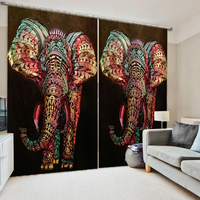 Customized size Luxury Blackout 3D Window Curtains For Living Room elephant curtains thickening blackout curtains