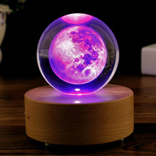 3D Moon Crystal Ball Night Light Globe Engraved Galaxy Solar System Novelty Light Planetarium Ball Lamp LED Colorful Illuminate