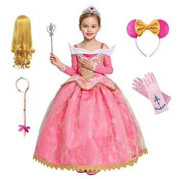 Girls Aurora Dress Halloween Cosplay Sleeping Beauty Princess Dresses Christmas Costume Party Birthday Gift