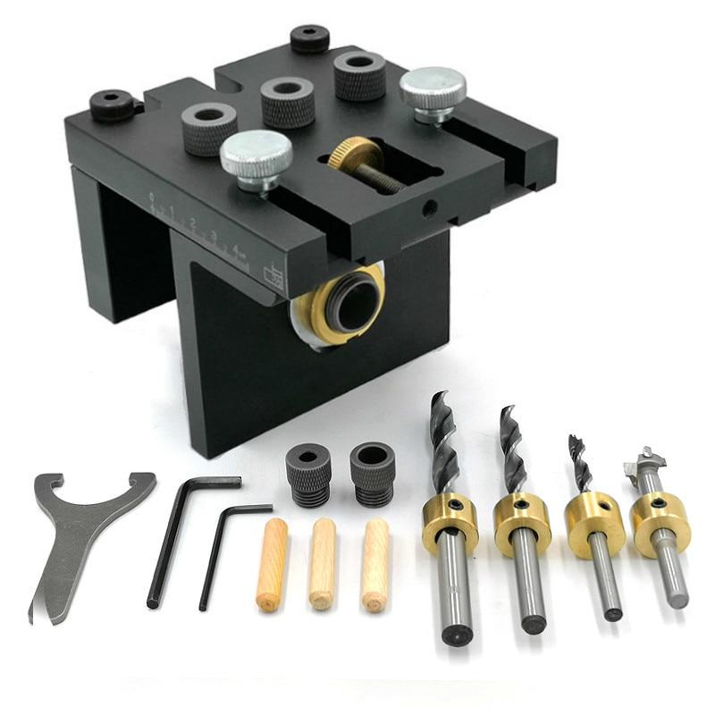 Guia de Perfuração Ferramentas de Carpintaria 3 em 1 Kit com Posicionamento Madeira Doweling Gabarito Clipe Ajustável Perfurador Locator