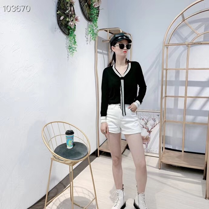 Bottoming Knitwear Women 2019 New V-neck Stripe Bownot Sweater Long Sleeve Loose Ice Silk Tops Spring And Autumn Pullover