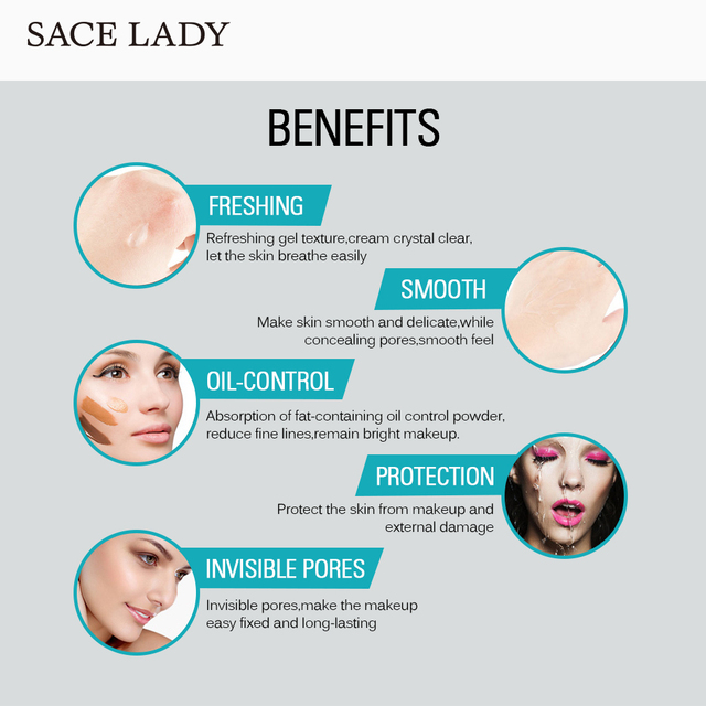 SACE LADY Face Base Primer Makeup Liquid Matte Make Up Fine Lines Oil-control Facial Cream Brighten Foundation Primer Cosmetic 3