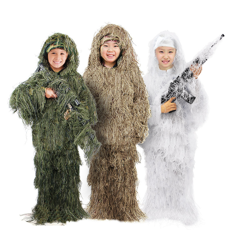 5 in 1 3D Ghillie Suit Set Kids Camo Camouflage Woodland Jungle Hunting Clothing