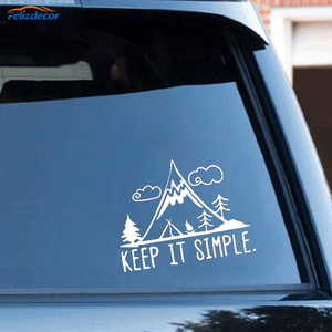 Black/Silver Funny Camping In Mountain Keep It Simple Vinyl Car Sticker Vivid Window Decal Decoration C361