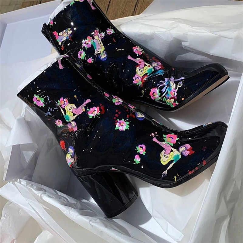 Siyah rugan baskı çiçekler kısa çizmeler kadınlar bölünmüş ayak ayrı topuk ayakkabı kış pist yarım çizmeler kadınlar gerçek deri
