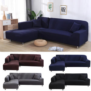 Sofa-Cover Chaise Elastic Sectional-Corner L-Shaped Solid-Color Home for Longue New