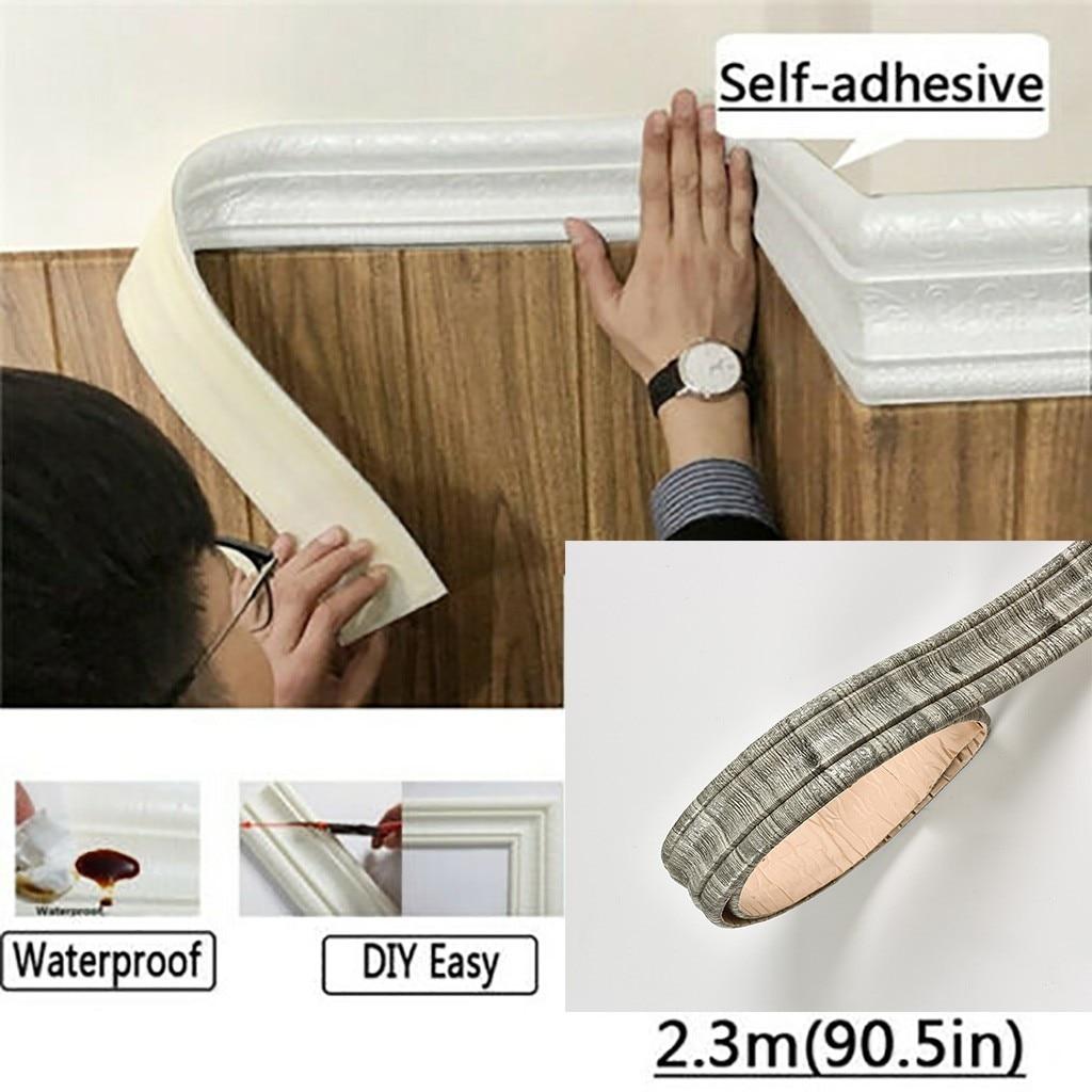 2.3 m Wall Sticker Waist Line Border 3D Pattern Decor Waterproof Wall Art