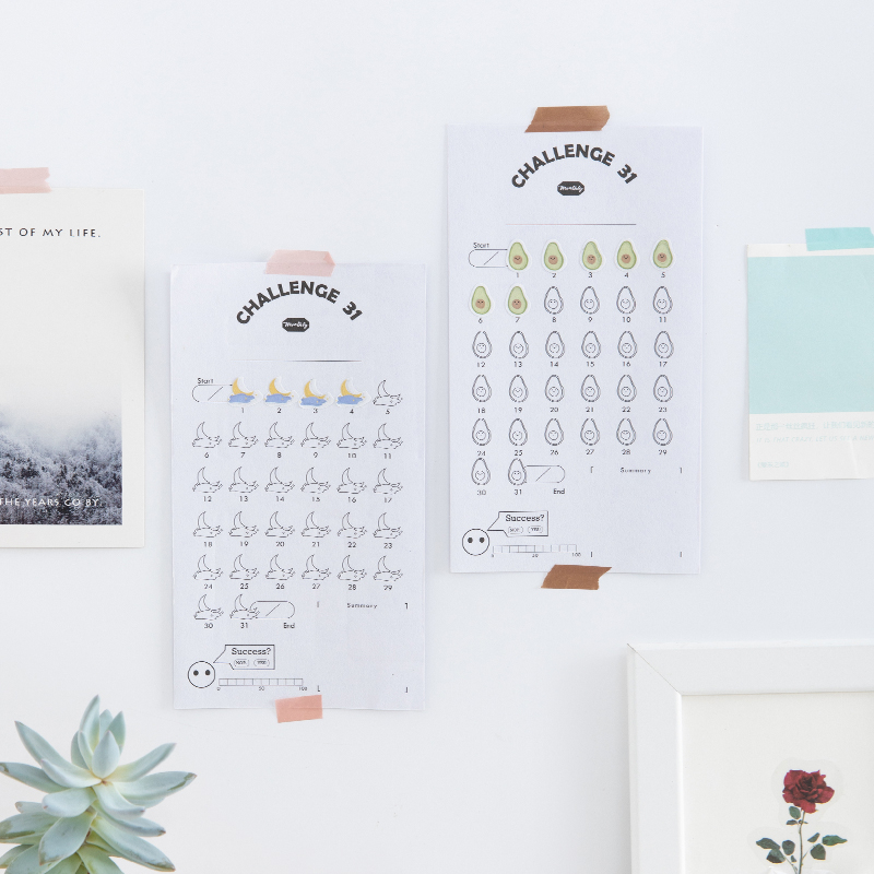 JIANWU 31Days Sticker Habits Develop Schedule Reminder Countdown Note Calendar 2019 2020 Table For Bullet Journal Supplies