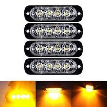 Awaryjne światła stroboskopowe do samochodów ciężarowych, bursztynowy samochód regeneracyjny 4 żetony LED pasek oświetleniowy pomarańczowy Grill awaria miga 12/24V bursztynowa dioda led