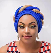 Fashion Women Glitter Sequins Turban Cap African Auto Geles Aso Oke Headtie Ready to Wear Headwraps Already Made Headties