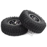 INJORA 4Pcs 1.9 Beadlock Wheel Rim Rubber Tire Set for 1/10 RC Crawler Traxxas TRX-4 Axial SCX10 90046 D90 Voodoo KLR 6
