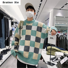 Winter Plaid Sweater Men's Warm Fashion Contrast Casual Knit Sweater Man Streetwear Loose Long Sleeve Pullover Male Clothes(China)