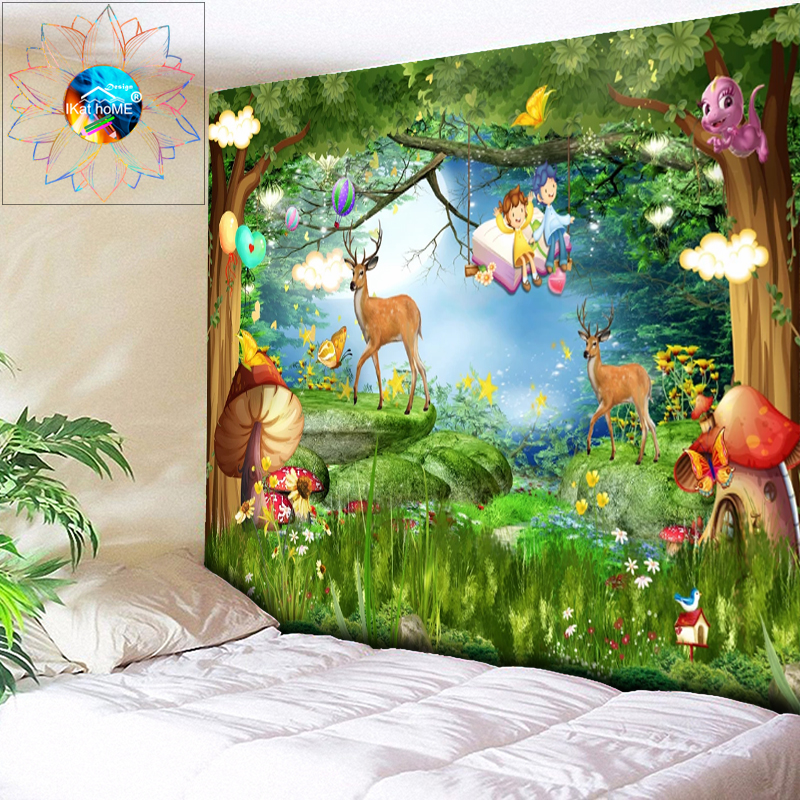 Tapestry Fairytale Forest Mushroom Wall Hanging Anime Psychedelic Decoration Mandala Boho Hippie