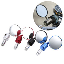 1 Pair 7/8 Motorcycle Rearview Mirror Round Handlebar Bar End Rear View Mirrors Bike Motorbike Side Mirror For Honda Kawasaki 7 8 22mm bar end rear mirrors motorcycle accessories motorbike scooters rearview mirror side view mirrors moto for cafe racer