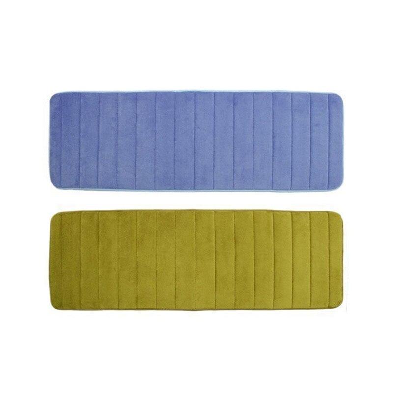 2 Pcs 120X40Cm Absorbent Nonslip Memory Foam Kitchen Bedroom Door Floor Mat Rug Carpet Dark Blue & Olive Drab