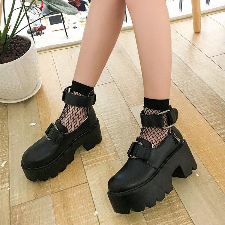 Lolita Gothic Round Head Mary Jane Shoes Japanese College Girl JK Uniform  PU Leatehr Platform Strap Waterproof Black Shoes 5