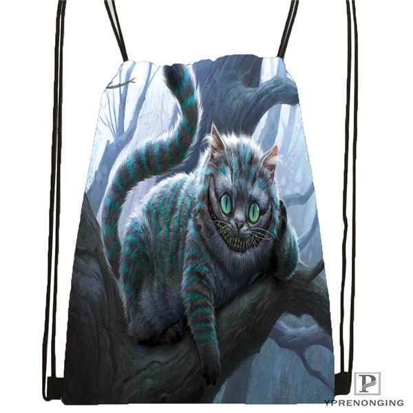 Custom Moon Cat      Drawstring Backpack Bag Cute Daypack Kids Satchel (Black Back) 31x40cm#180612-03-1