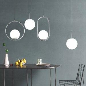 Image 3 - Nordic szklane kulki wisiorek światła nowoczesne lampy wiszące LED do salonu mosiądz/czarny/chrom lampa wisząca