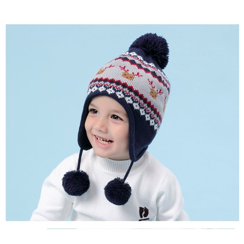 Kids Baby Winter Christmas Reindeer Pompom Earflap Beanie Cap Long Scarf Gloves