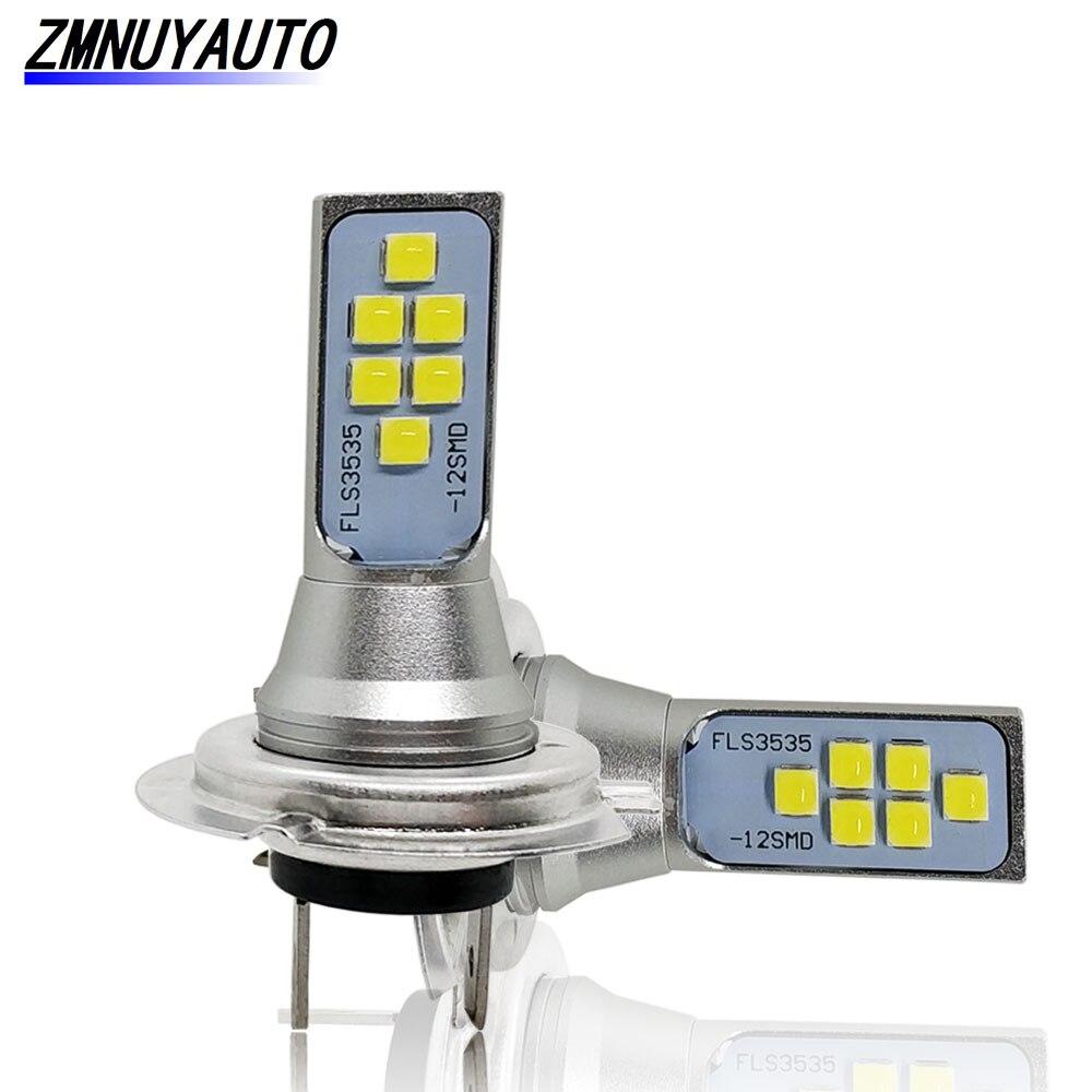 2PCS H7 Led-lampe Auto Nebel Lampe 1400LM 6500K Super Helle Weiß Driving Tagfahrlicht Auto Lampe DC 12V 24V