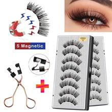 VISIBLE 8PCS 5 Magnets 3D Magnetic False Eyelashes Lasting Handmade Natural Artificial Mink Faux Cils Magnétique with Tweezers