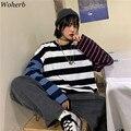 Woherb Übergroßen Baumwolle Langarm T Shirt Striped Print Kontrast Tees Frauen und Mann Herbst 2021 Streetwear Harajuku T-shirts