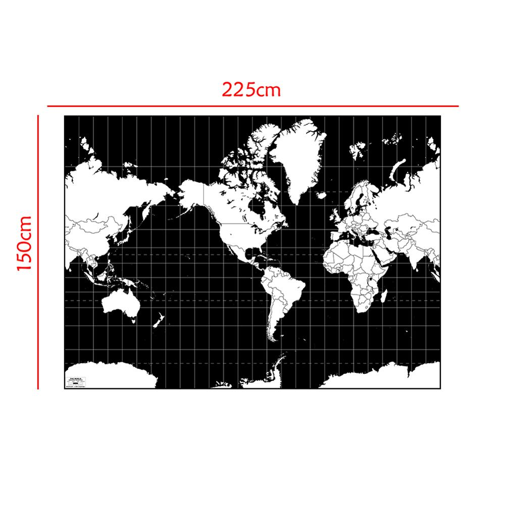 150x225cm Mercator Projection World Map Aerial View Black And White Continental Plate Map