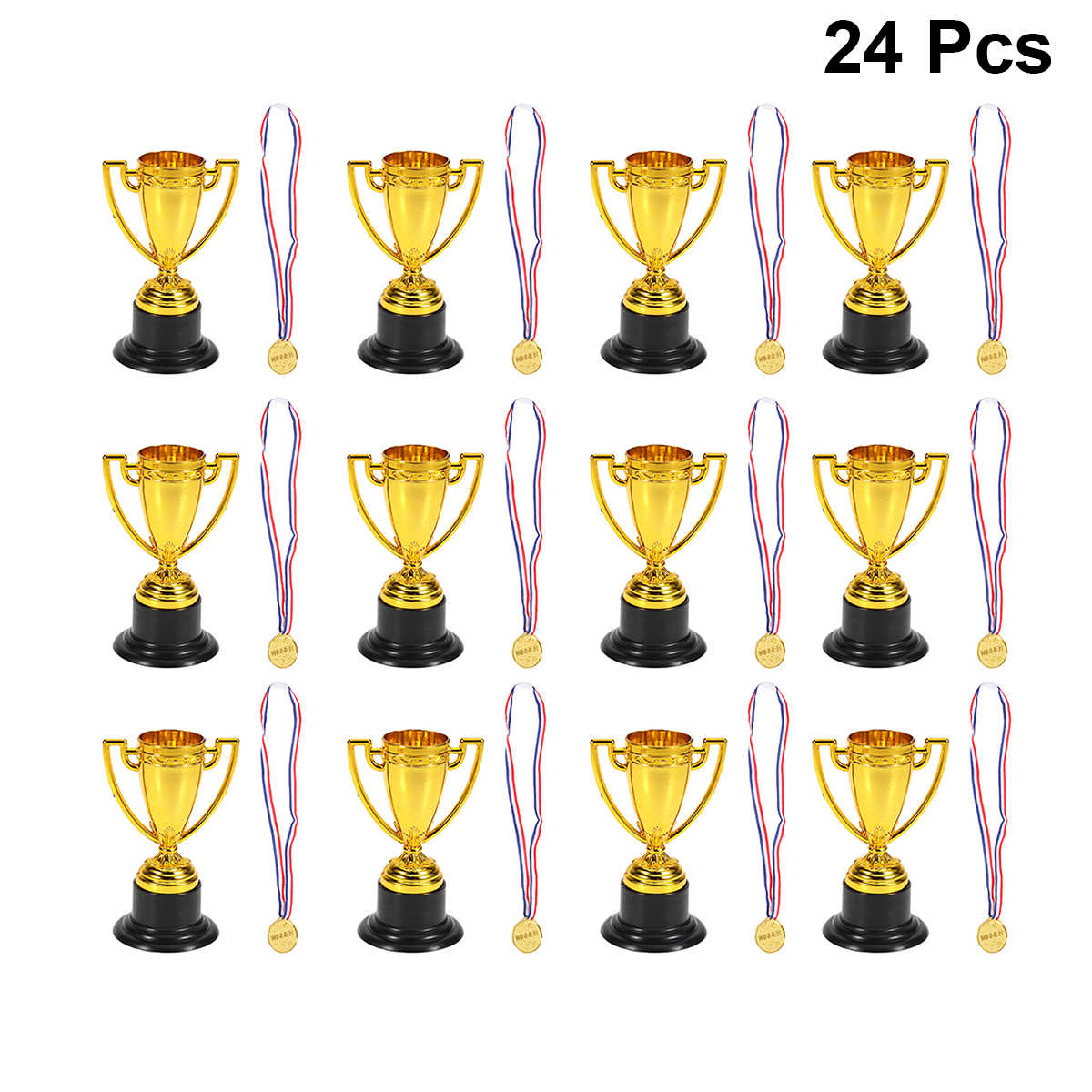 24PCs Childrens Prizes Interest Development Winner Awards Early Learning Plastic Mini Gold Cups Medals for Competition Sports
