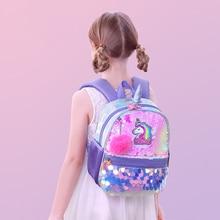 Sunveno Unicorn Girls School Bags Reversible Sequin Bag Back