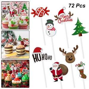 Image 1 - 72pcs Merry Christmas Cake Topper Cupcake Toppers Muffin Santa Claus Christmas Tree Snowman Cute Fruit Cake Picks Xmas Supplies
