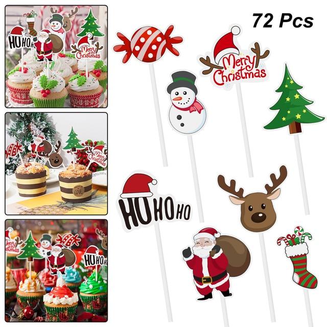 72pcs Merry Christmas Cake Topper Cupcake Toppers Muffin Santa Claus Christmas Tree Snowman Cute Fruit Cake Picks Xmas Supplies