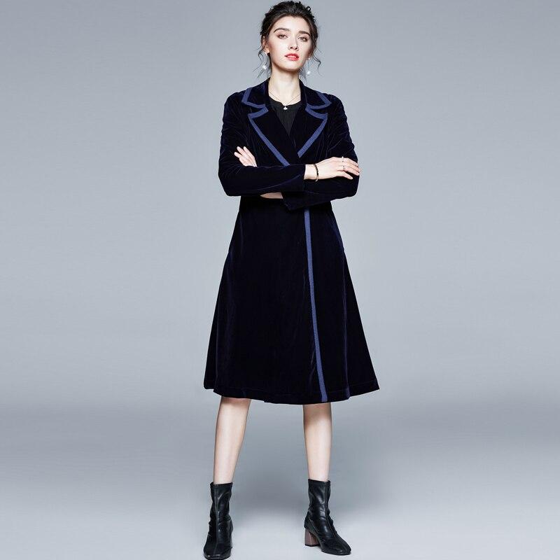 Женское зимнее дизайнерское пальто винтажное черное бархатное