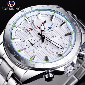 Forsining 2020 Power Reserve Design Date Automatic Watch White Waterproof Mechanical Watch Stainless Steel Band Luminous Clock mce men s fashionable stainless steel band analog mechanical watch silver white