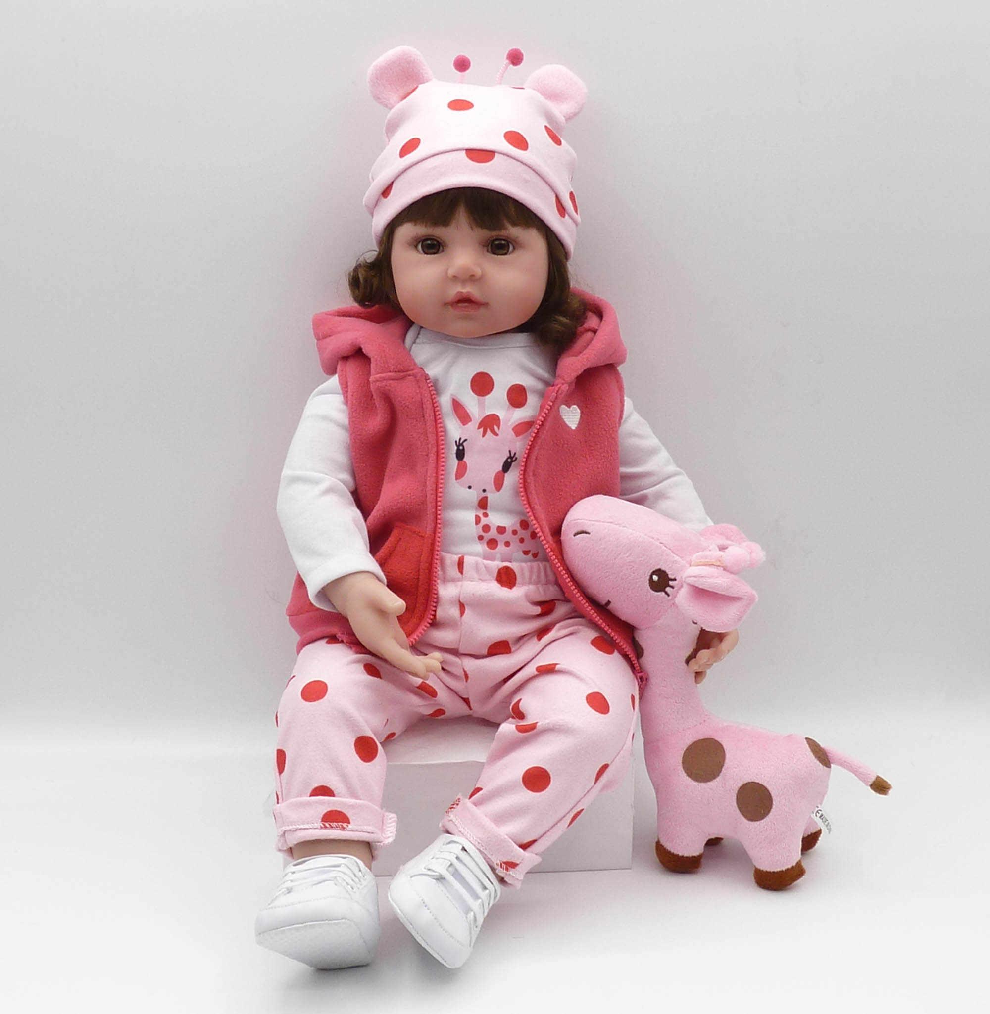 Recém-nascido boneca de silicone de 19 polegadas bebe reborn boneca bonito brinquedo de pelúcia menina do bebê dá à criança o melhor presente da criança de aniversário de natal!