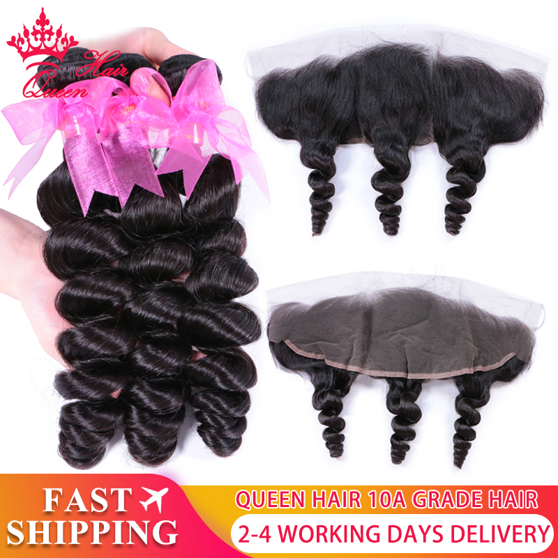 Queen Hair Products 3 Bundles Human Hair with Brazilian Loose Wave Closure Ear To Ear Lace Frontal 13x4 Remy Hair Natural Color