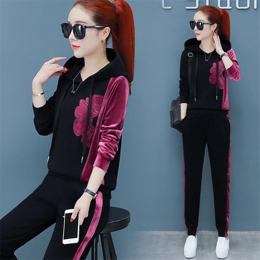 2019 Lady Suit New Leisure Sportswear Suit Large Size Clothes 2piece Set Women Spring Autumn Ladies Tracksuits