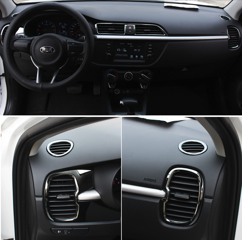 For Kia Rio 4 X Line Accessories Air Outlet Circle Cover X-line Interior Mouldings Car-styling Chrome Trim Decoration 2017