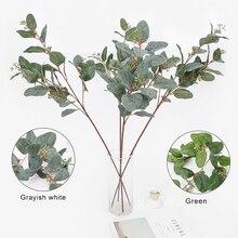 Имитация эвкалипта искусственный InsRattan вечерние праздничные с фруктами зеленый/серый креативный искусственный растение зелени ручной работы 83 см