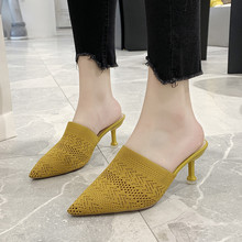 2019 Pointed Toes Woven Knit Fashion Women Half Med Heels Stilettos Mules Loafer Casual Feminine Slippers Slides Sandalias Shoes