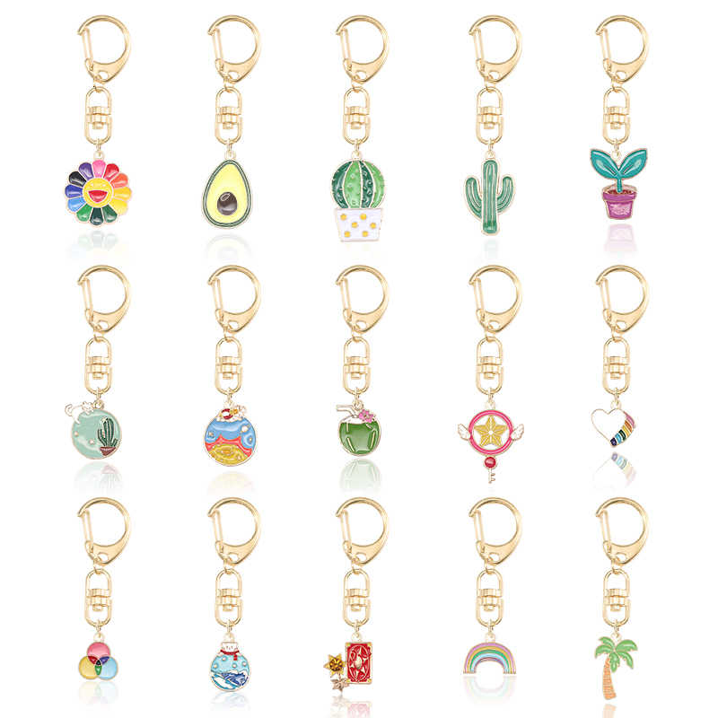 DIY Fashion Creative Flower Avocado Potted Rainbow Pendant Keychain For Girl Jewelry Plant Heart-shaped Alloy Accessories 2019