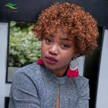 цена на Pixie Cut Kinky Curly Human Wig Full Machine Wigs Human Hair Wigs For Black Women Invisible Lace Front Wigs Curly Short Bob Wig