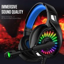 3.5mm Wired Gaming Headset Deep Bass Game Earphone Computer Gamer Headphones With HD Microphone Colorful Glow