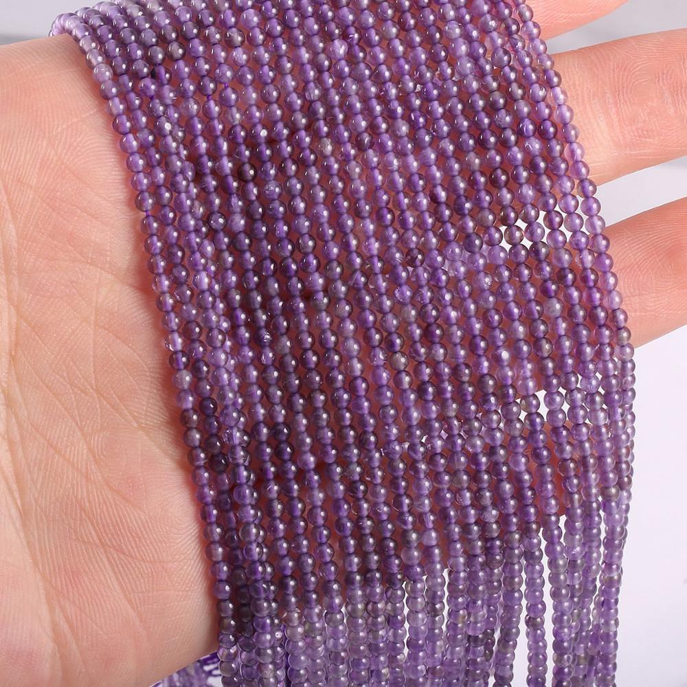2020 novo atacado natural contas de pedra ametistas contas para fazer jóias beadwork diy pulseira acessórios 2mm 3mm