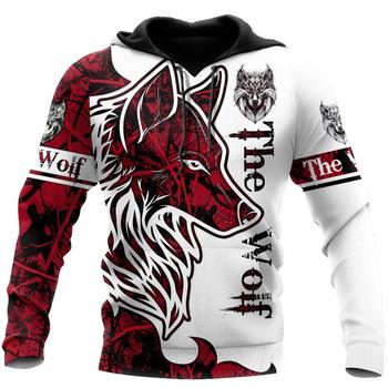Animal Wolf Tattoo red 3D Printed Hoodie 7