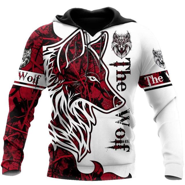 Animal Wolf Tattoo red 3D Printed Hoodie 7