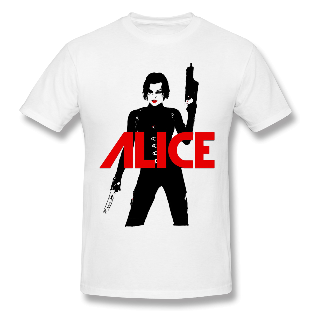 Alice Funny T-Shirt Men Crew Neck O Neck Summer Casual T Shirt Cotton Tee residented evil Zombie Game Graphic Top free shipping image